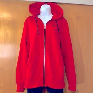 Nike red fleece cozy zip hoodie size medium